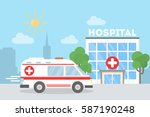 ambulance car in the city near... | Shutterstock .eps vector #587190248