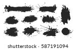 black ink spots set on white... | Shutterstock .eps vector #587191094