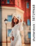 Beautiful Lady In Vintage Whit...