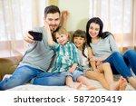 selfie family makes sitting on... | Shutterstock . vector #587205419