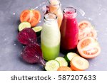 vegetables detox smoothie... | Shutterstock . vector #587207633