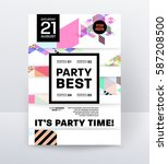 invitation disco party poster... | Shutterstock .eps vector #587208500