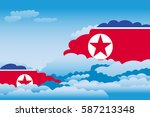clouds with korea  north flags | Shutterstock .eps vector #587213348