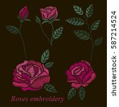 roses embroidery set. pink... | Shutterstock .eps vector #587214524