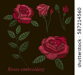 roses embroidery set. red...   Shutterstock .eps vector #587214560