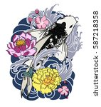 hand drawn koi fish with flower ...   Shutterstock .eps vector #587218358