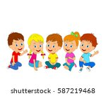 kids  boys and girls are... | Shutterstock .eps vector #587219468
