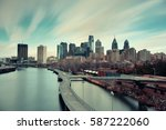philadelphia skyline with urban ... | Shutterstock . vector #587222060