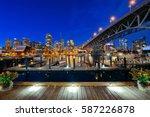 vancouver false creek at night...   Shutterstock . vector #587226878