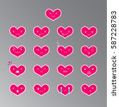 heart pink emoticons with... | Shutterstock .eps vector #587228783