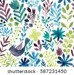 watercolor texture with flowers ... | Shutterstock . vector #587231450