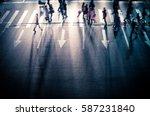 busy city street people on...   Shutterstock . vector #587231840