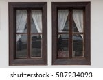 an ancient windows with white... | Shutterstock . vector #587234093