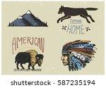 set of engraved vintage  hand...   Shutterstock .eps vector #587235194