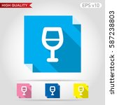 wine glass icon. button with...