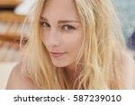 portrait of beautiful woman on... | Shutterstock . vector #587239010