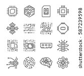 digital chip processor icons set | Shutterstock .eps vector #587239598