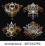 gold lotus logo vector art set... | Shutterstock .eps vector #587242790