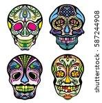 sugar skull   Shutterstock .eps vector #587244908