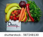 fresh fruits and vegetables on... | Shutterstock . vector #587248130