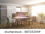 kitchen interior. 3d... | Shutterstock . vector #587252549
