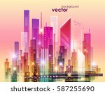 colorful night city skyline ... | Shutterstock .eps vector #587255690