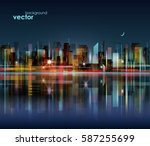 night city skyline with... | Shutterstock .eps vector #587255699
