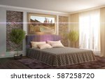 bedroom interior. 3d... | Shutterstock . vector #587258720