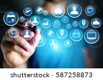 concept view of multimedia icon ... | Shutterstock . vector #587258873
