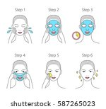 steps how to apply facial sheet ... | Shutterstock .eps vector #587265023