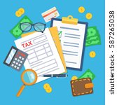 tax form with calculator  pen ... | Shutterstock .eps vector #587265038