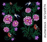 embroidery peonies  bullfinches ... | Shutterstock .eps vector #587265974