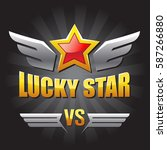 emblem lucky star. star with... | Shutterstock .eps vector #587266880