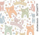 cute cartoon cats in different... | Shutterstock .eps vector #587266979