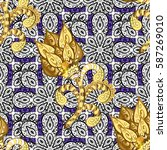 ornamental lace tracery. golden ... | Shutterstock .eps vector #587269010