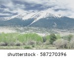 vintage mountain landscape with ...   Shutterstock . vector #587270396