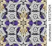 antique golden repeatable... | Shutterstock .eps vector #587272424