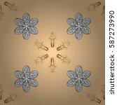 seamless golden pattern. vector ... | Shutterstock .eps vector #587273990