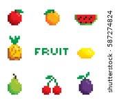 pixel fruit  | Shutterstock .eps vector #587274824