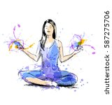 colored hand drawing women...   Shutterstock .eps vector #587275706