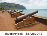 Small photo of SAINT-DENIS DE LA REUNION, FRANCE - DECEMBER 07, 2010: Old cannons at the sea side of the Saint-Denis De La Reunion, capital of the French overseas region and department of Reunion.