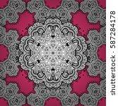 seamless element woodcarving.... | Shutterstock .eps vector #587284178