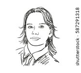 sketch of girl's face  hand...   Shutterstock .eps vector #587291318