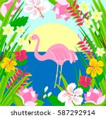 flamingo in the sun  sea and... | Shutterstock .eps vector #587292914