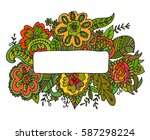 hand drawn frame with flowers... | Shutterstock .eps vector #587298224