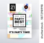 invitation disco party poster... | Shutterstock .eps vector #587298998
