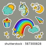 cute magic set with unicorn ... | Shutterstock .eps vector #587300828