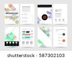 memphis geometric background... | Shutterstock .eps vector #587302103