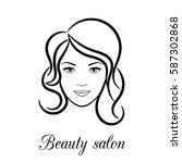 contour logo for beauty salon... | Shutterstock .eps vector #587302868