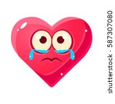 crying upset emoji  pink heart... | Shutterstock .eps vector #587307080